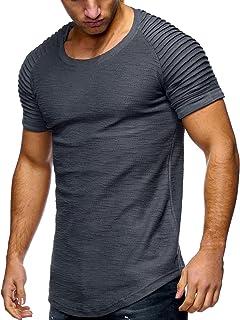 junkai Estate Uomo Slim Fit O Collo T-Shirt A Maniche Corte T-Shirt Elastica Tee Muscle Top A Maniche Corte Camicia di Cotone Bianca,Cachi,Grigi,Neri,Verde Militare B180416MT1-ka