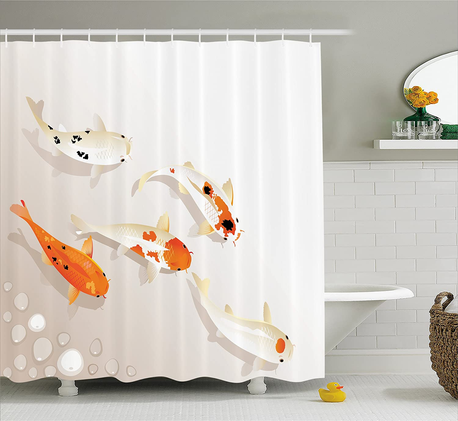 """Ambesonne Animal Shower Curtain, Traditional Koi Carps with Spots Oriental Items Representing Love Nautical Theme, Cloth Fabric Bathroom Decor Set with Hooks, 70"""" Long, Orange Beige"""