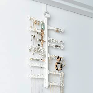 "12-Tier 17"" Rotating 180° Display Over the Door OR Wall-Mounted - Large Capacity - Long Necklaces, Earrings (120 holes) Rings, Bracelets - Hanging Jewelry Organizer Storage Holder - White"