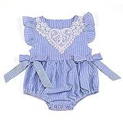 AILOM Newborn Baby Girl Short Sleeve Striped Seersucker Bubble Straps Ruffle Layers Bowknot Summer Romper Bodysuit (Blue, 12-24 M)