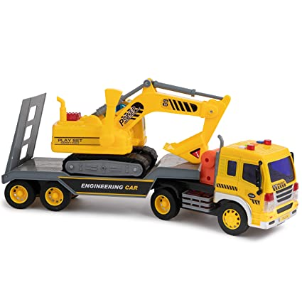 Toy To Enjoy Flatbed Truck Trailer with Excavator Tractor - Friction  Powered Wheels, Four Light & Sound Effects - Heavy Duty Plastic  Construction