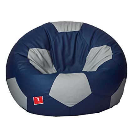 Comfy Bean Bags Football XXXL Bean Bag Without Fillers Cover (Indigo and Grey)