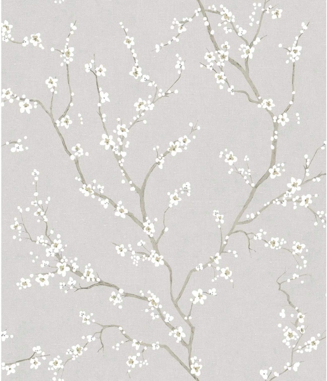 RoomMates Grey Cherry Blossom Peel and Stick Wallpaper,Gray
