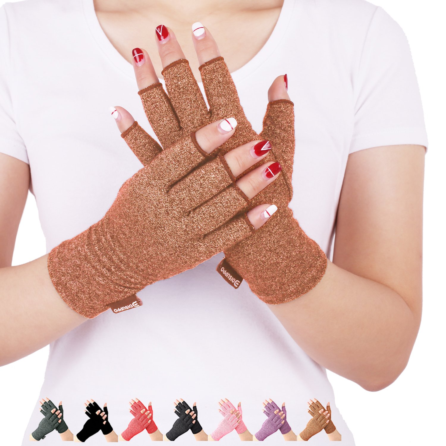 Arthritis Compression Gloves Relieve Pain from Rheumatoid, RSI,Carpal Tunnel, Hand Gloves Fingerless for Computer Typing and Dailywork, Support For Hands And Joints (Brown, Medium)