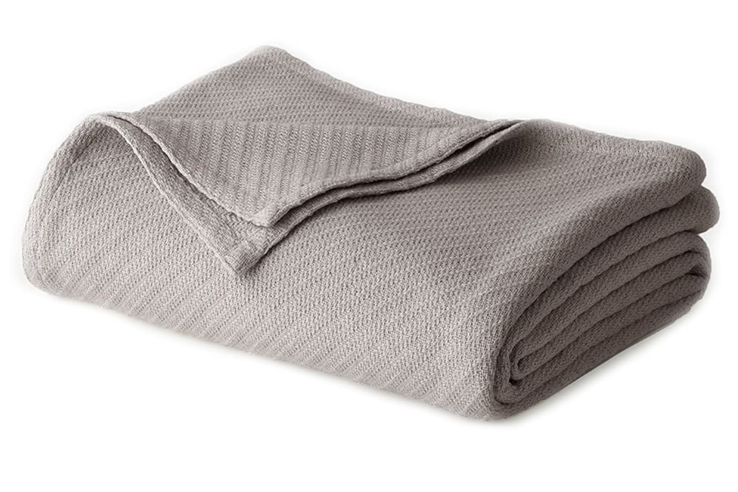 Cotton Craft - 100% Soft Premium Cotton Thermal Blanket - Full/Queen Grey - Snuggle in these Super Soft Cozy Cotton Blankets - Perfect for Layering any Bed - Provides Comfort and Warmth for years Orient Originals Inc.