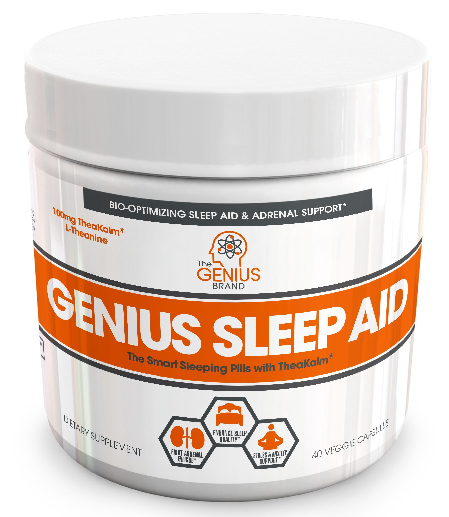 GENIUS SLEEP AID – Smart Sleeping Pills & Adrenal Fatigue Supplement, Natural Stress, Anxiety & Insomnia Relief - Relaxation Enhancer and Mood Support w/ Inositol, L-Theanine & Glycine – 40 capsules
