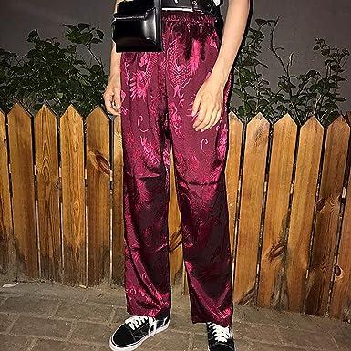 47f7d766a Harajuku Pants Women Chinese Style Phoenix Dragon Totem Pattern Satin  Straight Trousers Unisex Hiphop Bottom Elastic Waist at Amazon Women's  Clothing store: