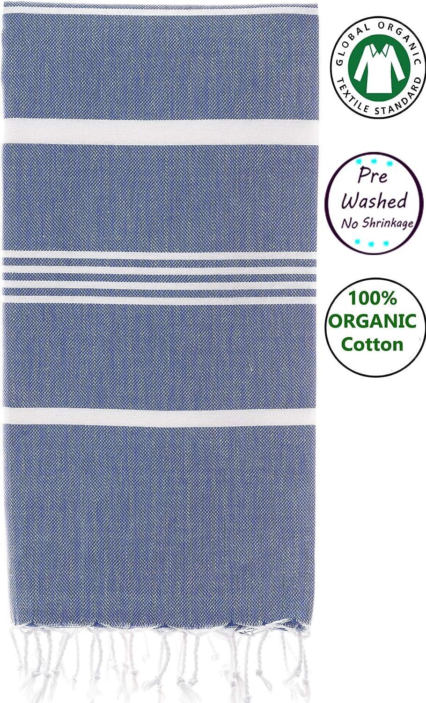 Organic 100% Cotton Peshtemal Towels   Prewashed Bath Beach Spa Sauna Hammam Yoga Gym Towel Fouta Peshtemal Easy Care Absorbent Pestemal Blue Depths