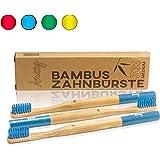 Amazy Brosses à dents en bambou (3 brosses   Bleu) – Brosse à dents en bois écologique, pour laver vos dents naturellement