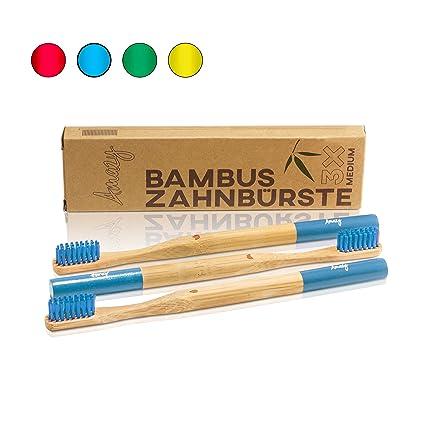 Amazy cepillo de dientes de bambu (3 unids | azul) – Cepillo de dientes