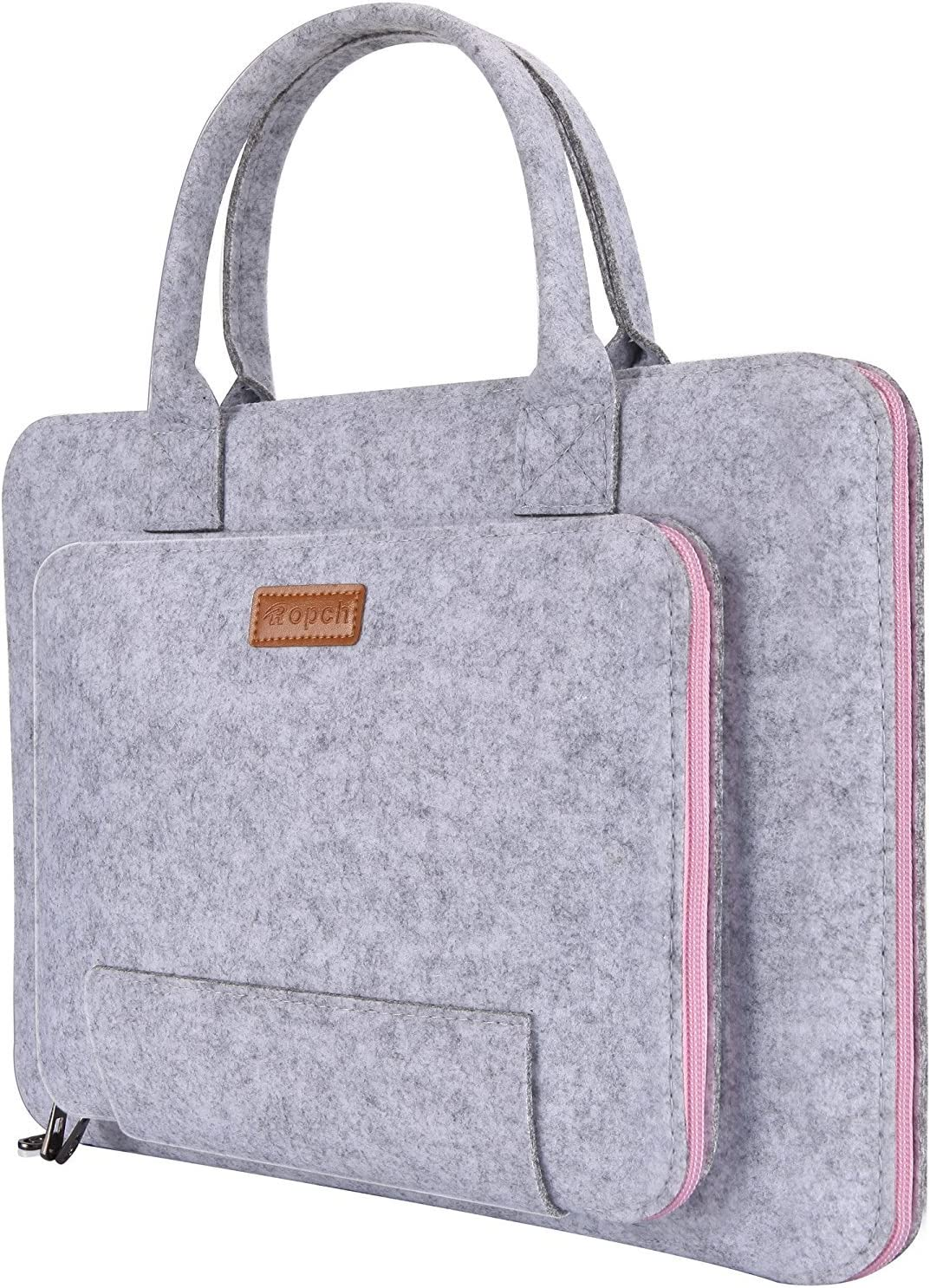 "Ropch 15.6 Inch Laptop Sleeve Felt Notebook Computer Case Bag Pouch with Handle Compatible with 15 15.6"" Acer, ASUS, Dell, HP, Lenovo, Toshiba, Gray & Pink"
