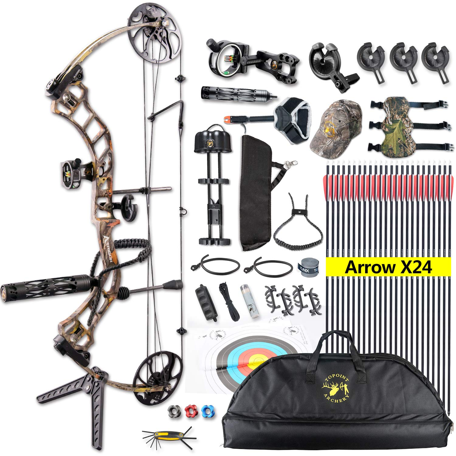 XGeek Compound Bow,with Hunting Accessories,CNC Milling Bow Riser,USA Gordon Composites Limb,BCY String,19''-30'' Draw Length,19-70Lbs Draw Weight,IBO 320fps (2 Years Warranty)