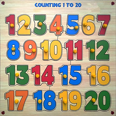 Webby Premium Wooden Counting Numbers 1 to 20 Educational Puzzle Toy