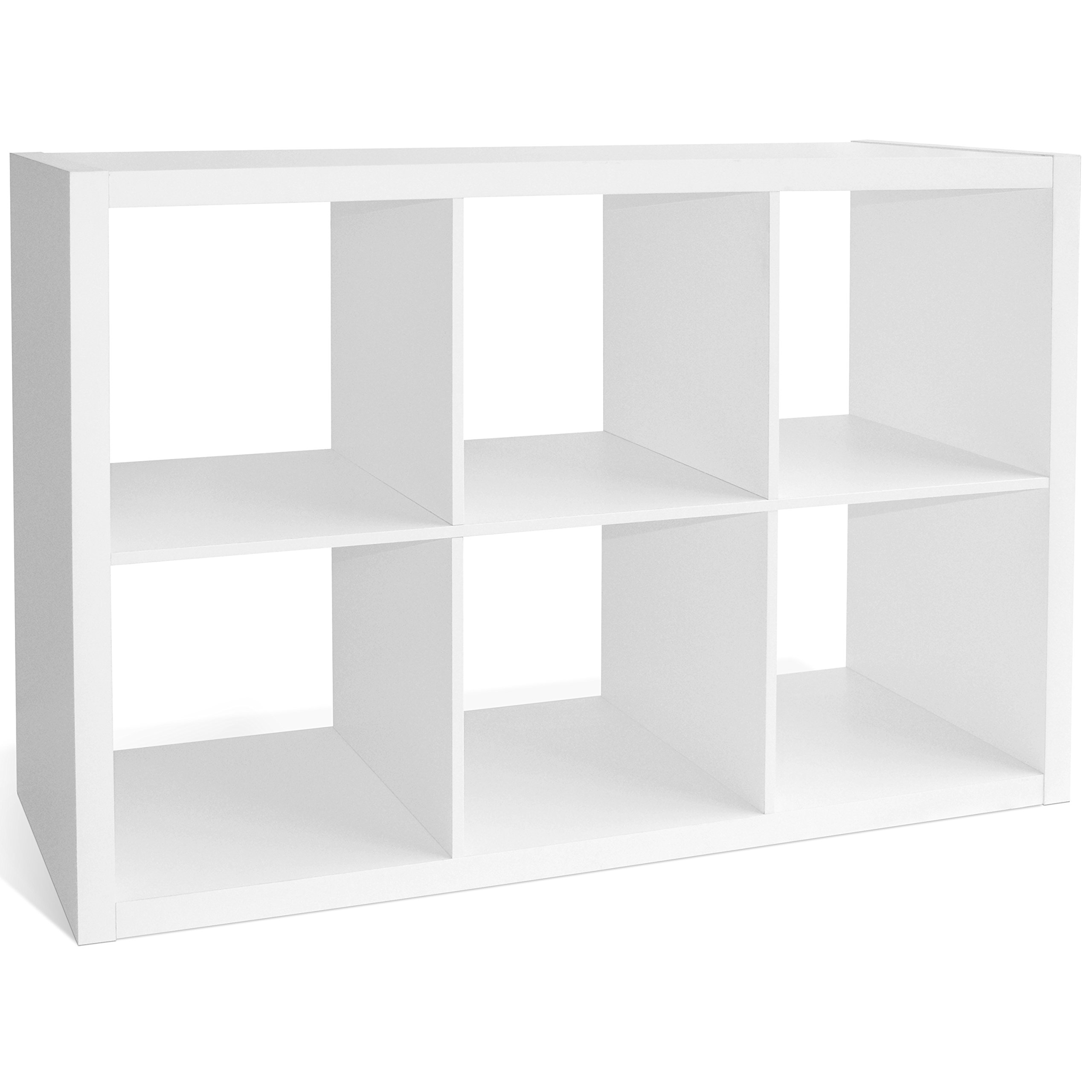 CAP LIVING 2/4/6 Cube Organizer w/Extra Wide Frame, Sturdy Storage Room Divider, 2 x 1/2 x 2/2 x 3 Bookcase, Colors Available in Espresso and White (White, 6 Cube)