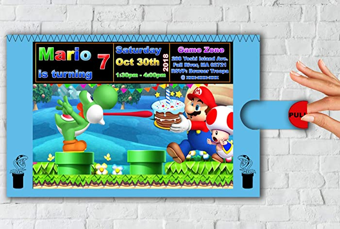 Amazon Com Super Mario Bros Invitation Toad And Yoshi Pull Out