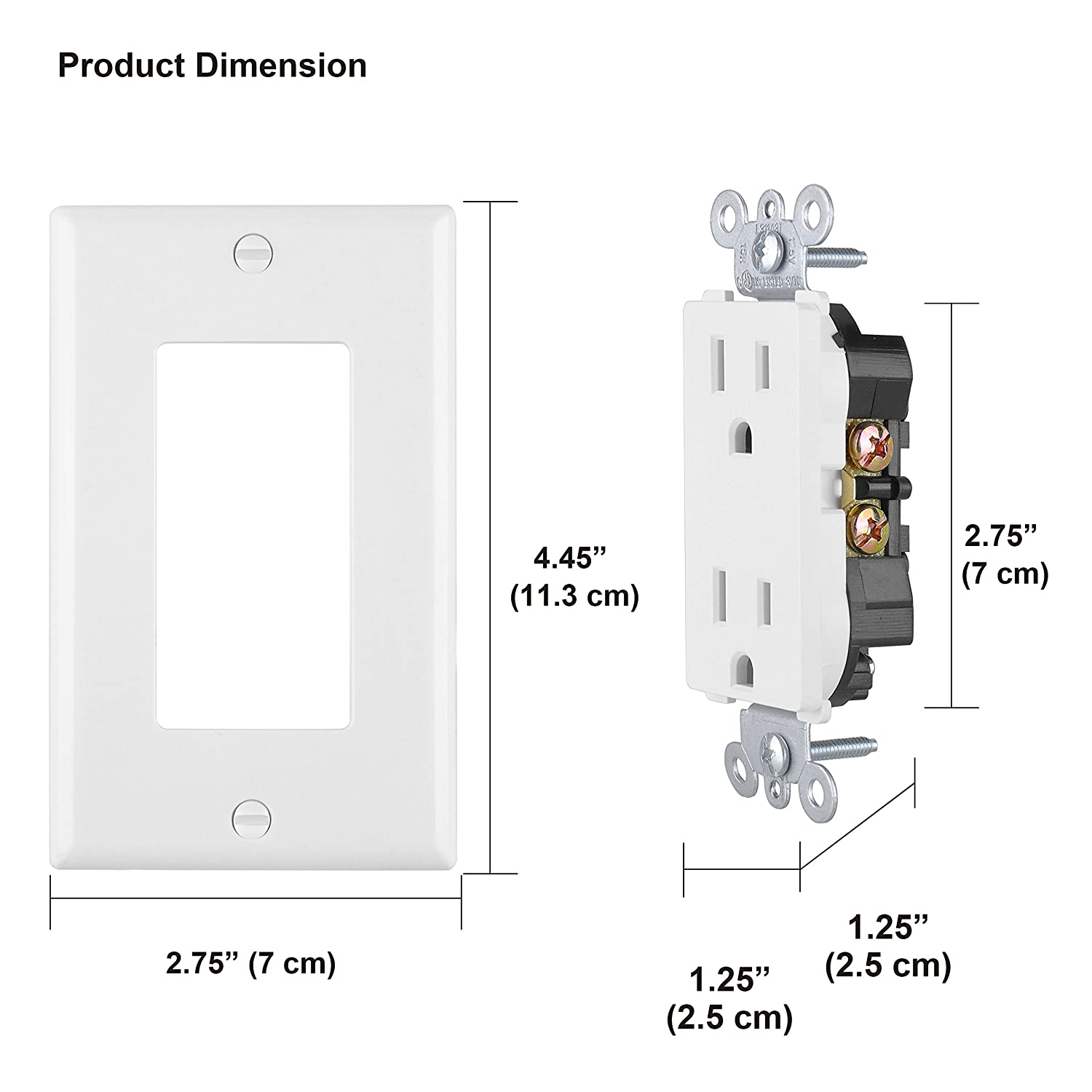 [10 Pack] BESTTEN 15A/1875W White Decor Receptacle Standard Decorative Electrical Outlet with Wall Plate, UL Certified