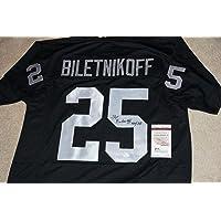 """$105 » FRED BILETNIKOFF""""HOF 88"""" Signed RAIDERS black Jersey + Witness COA W337536 - JSA Certified - Autographed NFL Jerseys"""