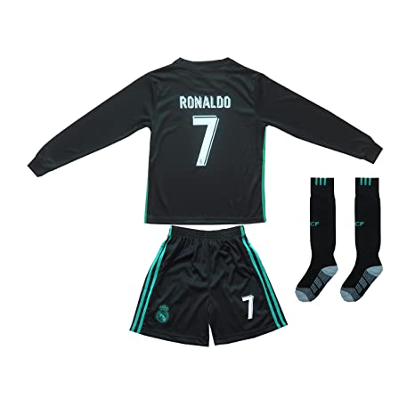 2017/2018 REAL MADRID #7 RONALDO KIDS AWAY BLACK LONG SLEEVE SOCCER JERSEY &