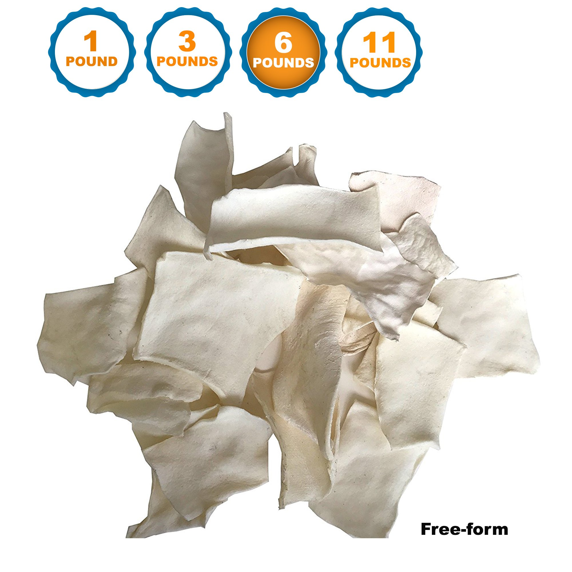 123 Treats - Free-form Rawhide Chips for Dogs (6 LB) Beef Hide Dog Chews Packed in the USA