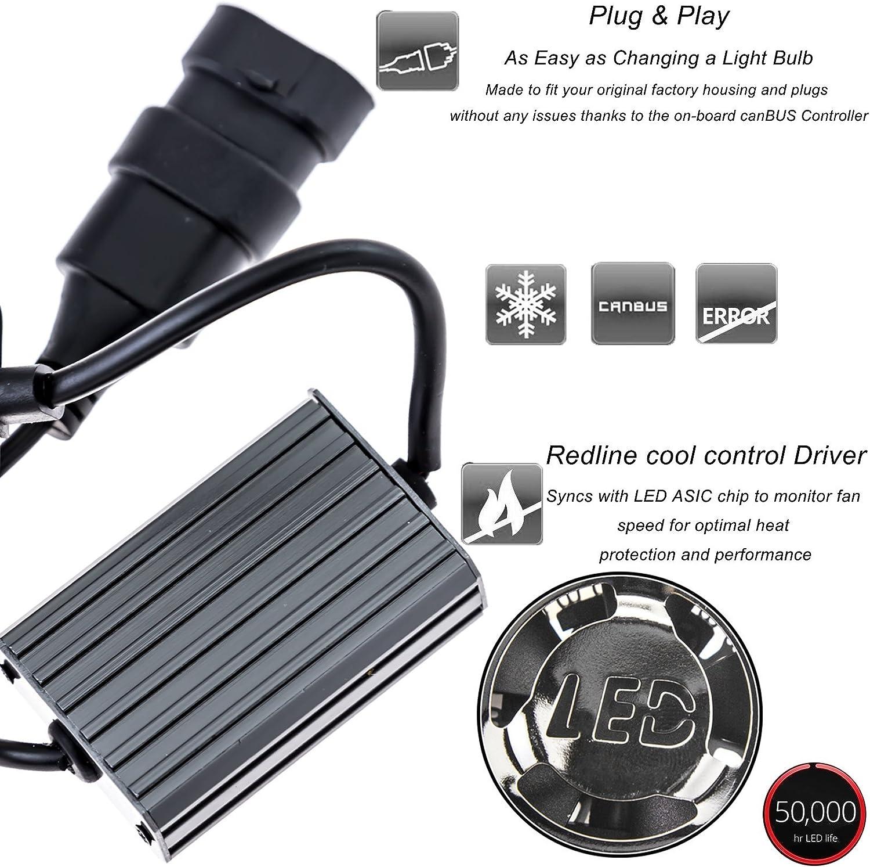Xotic Tech 2ps 6000K 8000k Dual Color White//Ice Blue H10 9140 9145 LED High//Low Beam Fog Light Headlight Conversion Kit