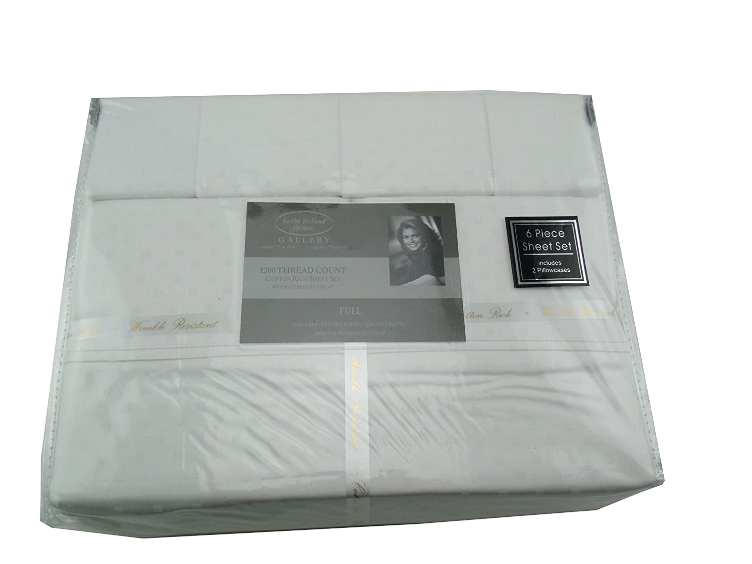 Kathy Ireland Home Gallery 6 Piece Full Deep Pocket 1200 Thread Count Sheet Set (White)