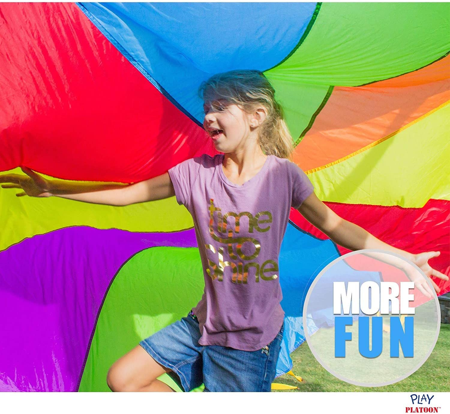 Multicolored Parachute for Kids 10 Foot Play Parachute with 10 Handles