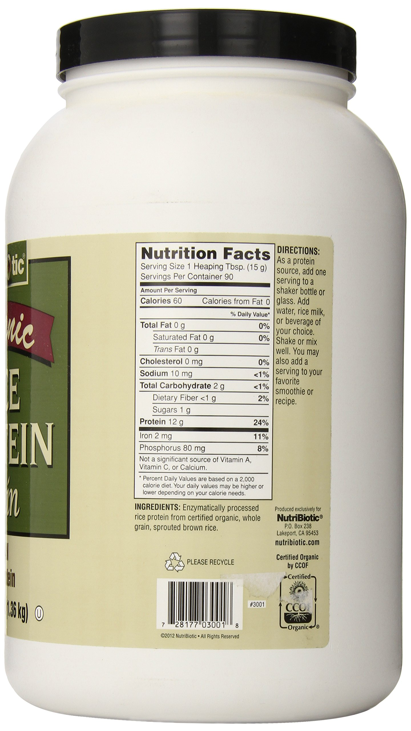 Nutribiotic Organic Rice Protein, Plain, 3 Pound by Nutribiotic (Image #4)