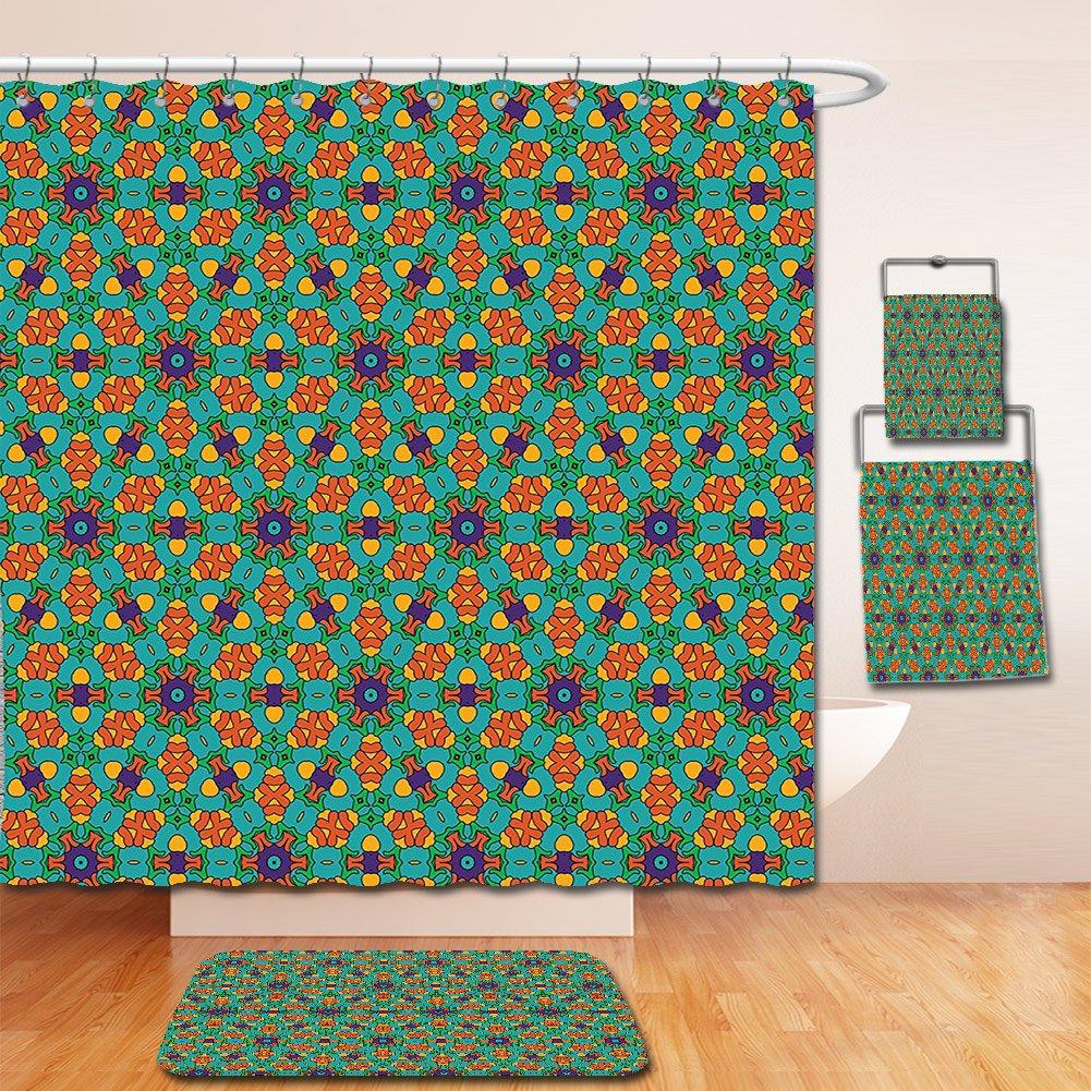 Nalahome Bath Suit: Showercurtain Bathrug Bathtowel Handtowel Orange Decor India Ethnic Design Lovers Floral Print Fern Green Marigold and Navy Blue