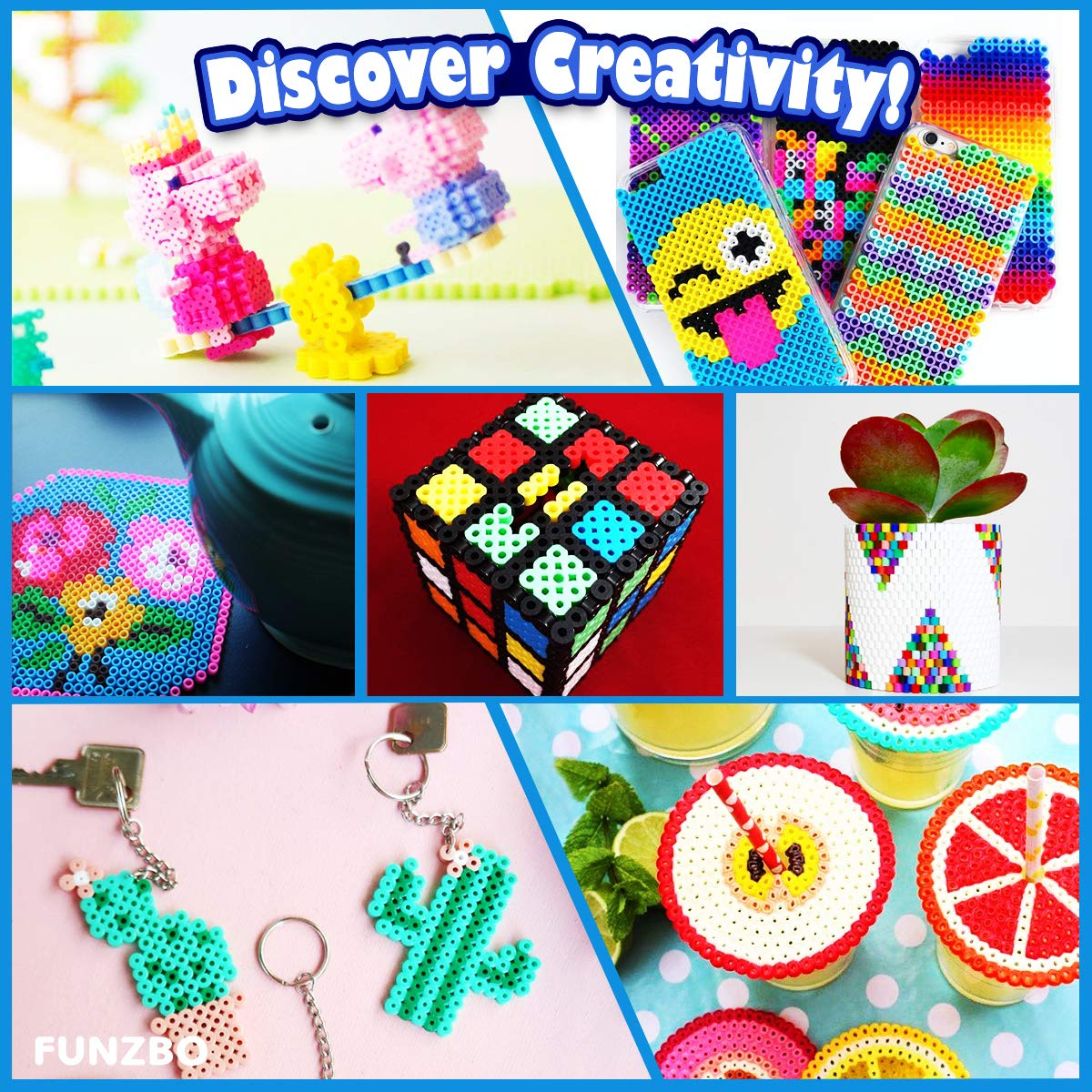 FunzBo Fuse Beads Craft Kit 111 Patterns Melty Fusion Colored Beads Arts and Crafts Pearler Set for Kids 5500 5mm Bead 9 pegboards for Boys Girls Age 5 6 7 Classroom Activity Gift Toy