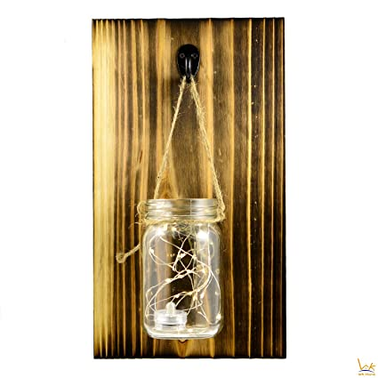 Amazon.com: WK Home Mason Jar Sconce Rustic Wall Sconces With LED ...
