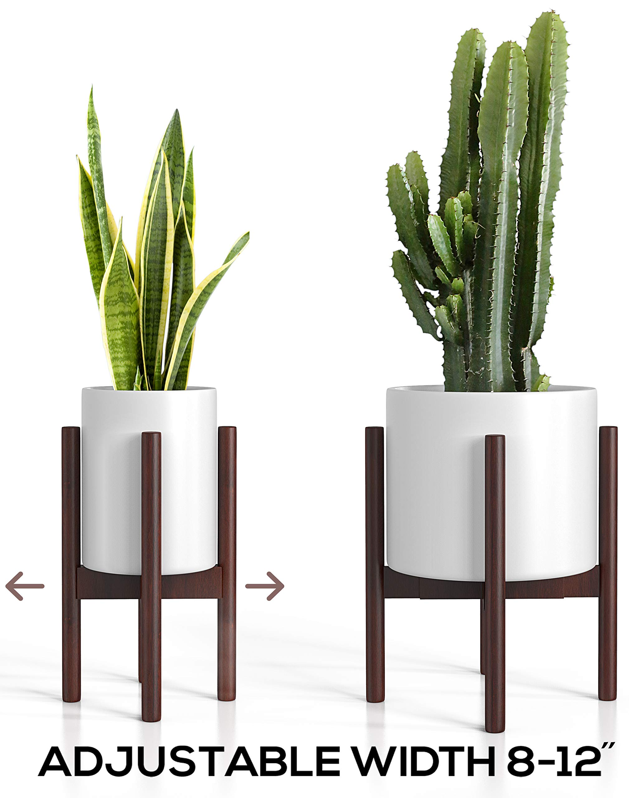 Mid Century Plant Stand - Adjustable Modern Indoor Plant Holder - Brown Planter Fits Medium & Large Pots Sizes 8 9 10 11 12 inches (Not Included) (Adjustable Width: 8-12'' x 16'' Tall, Dark Brown) by Mid Century Plant Stand