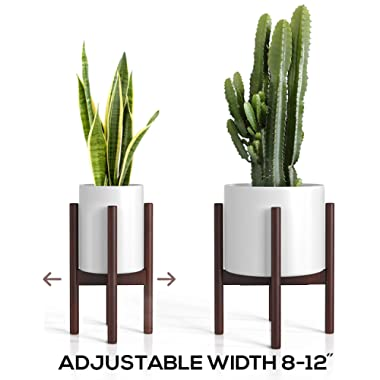 Mid Century Plant Stand - Adjustable Modern Indoor Plant Holder - Brown Planter Fits Medium & Large Pots Sizes 8 9 10 11 12 inches (Not Included) (Adjustable Width: 8-12  x 16  Tall, Dark Brown)