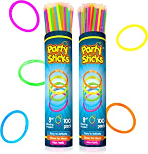PartySticks Glow Sticks Bulk Party Favors 200pk with Connectors - 8 Inch Glow in The Dark Party Supplies, Neon Party Glow Necklaces and Glow Bracelets