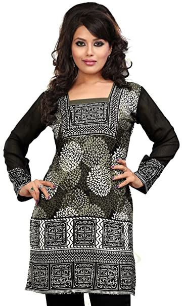 6b48467fea9224 Maple Clothing India Tunic Top Kurti Womens Printed Blouse Indian Apparel  (Grey, S)