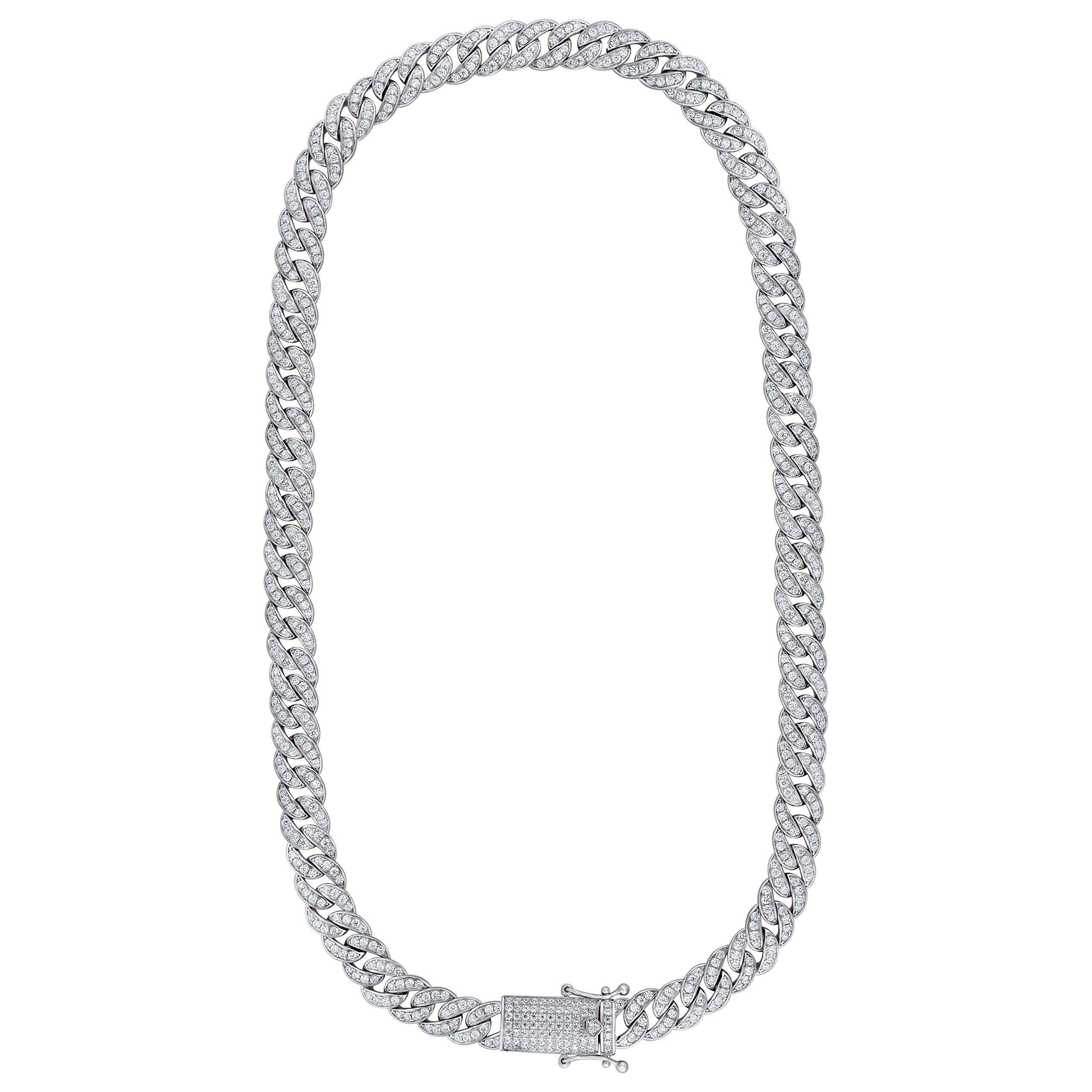 Saris and Things Sterling Silver Mens 9mm-24 Cubic Zirconia CZ Miami Cuban Chain by Saris and Things (Image #1)