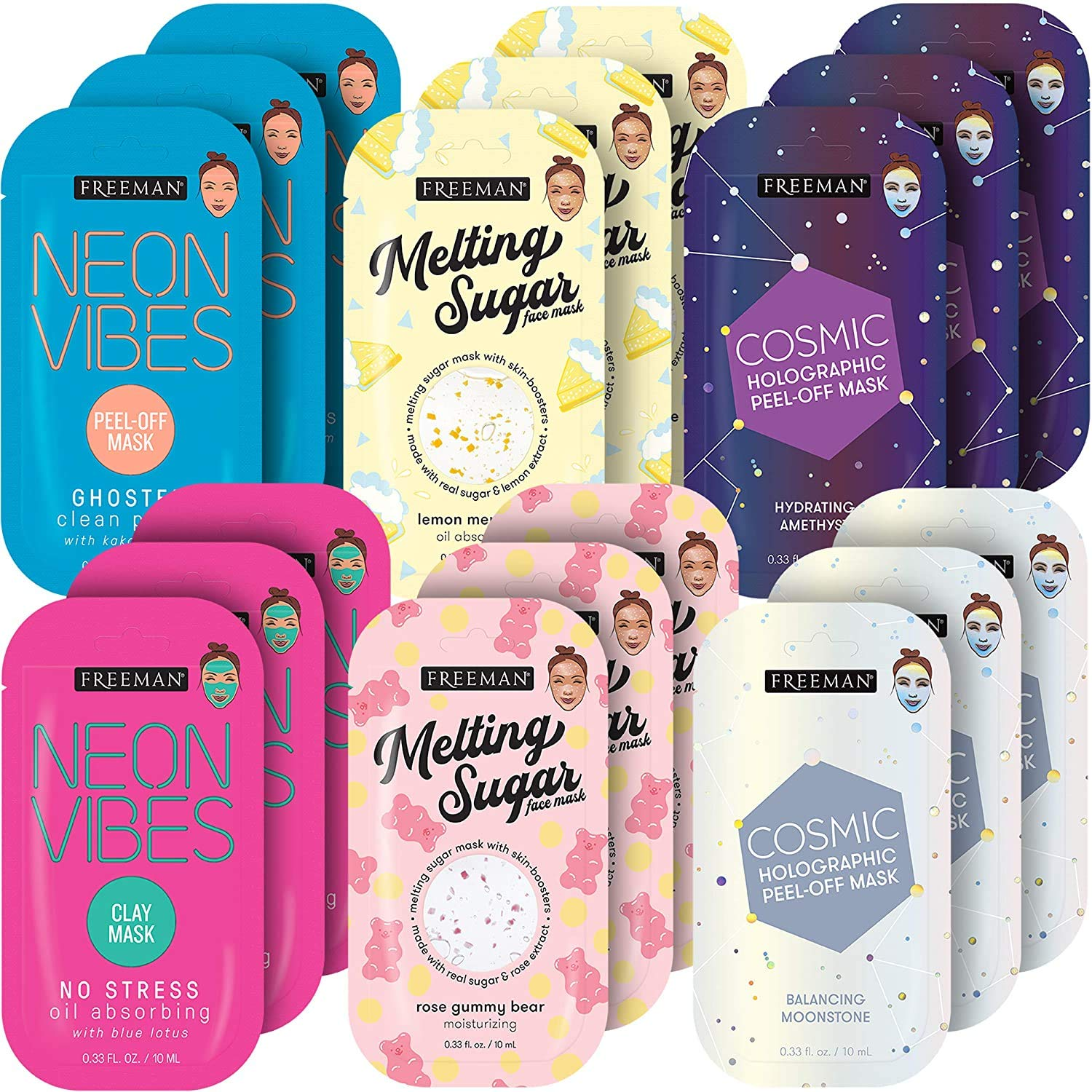 Freeman Facial Mask Variety Pack: Oil Absorbing Clay, Peel Off Pore Minimizer, Hydrating and Balancing Beauty Face Masks, 18 count