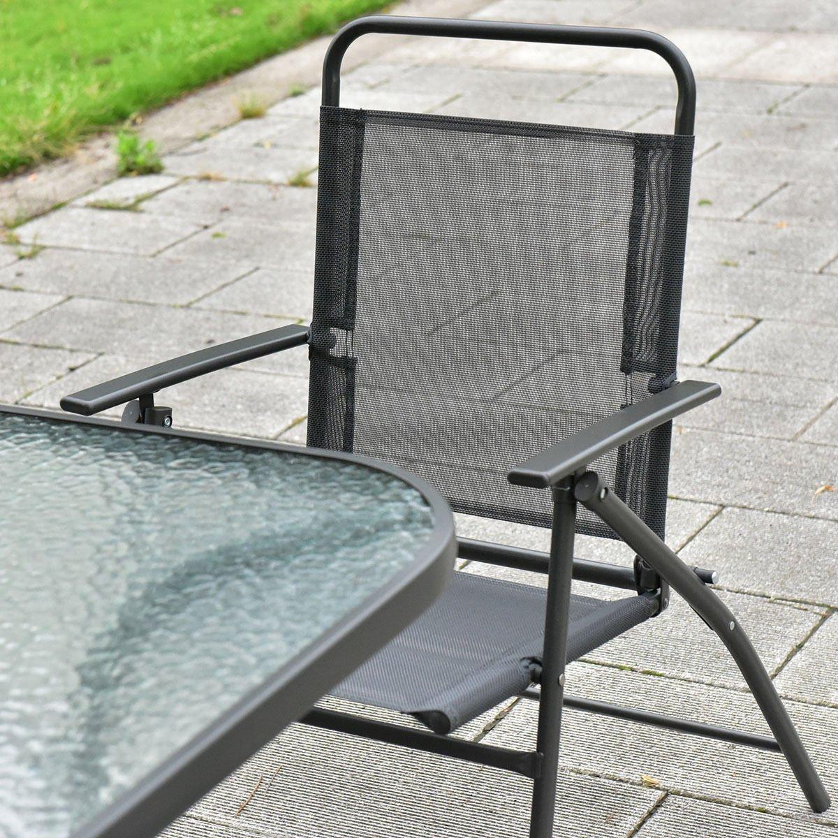 amazoncom giantex 8pcs patio garden set furniture 6 folding chairs table with umbrella gray new garden outdoor