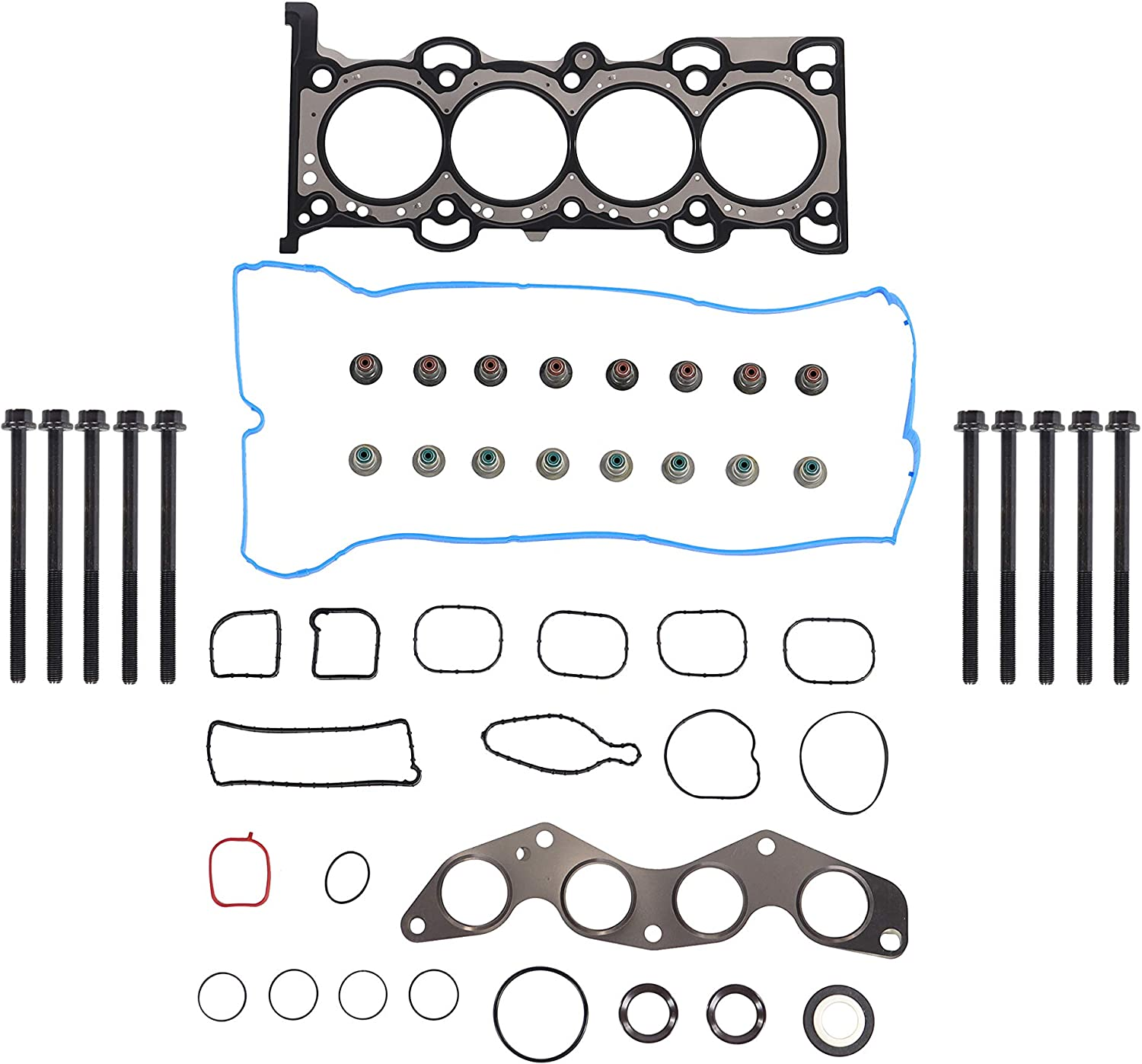 DNJ Head Gasket Set with Head Bolt Kit For 2012-2017 for Ford Focus 2.0L 1999cc 122cid L4 DOHC