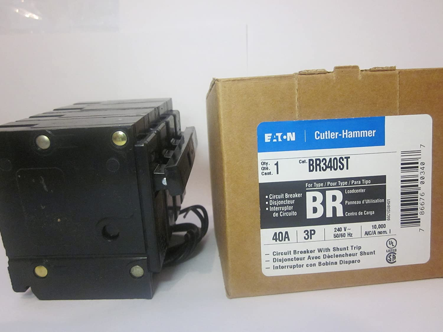 Cutler Hammer Br340st Circuit Breaker 3 Pole 40 Amp With Shunt Trip 100 Main Panel