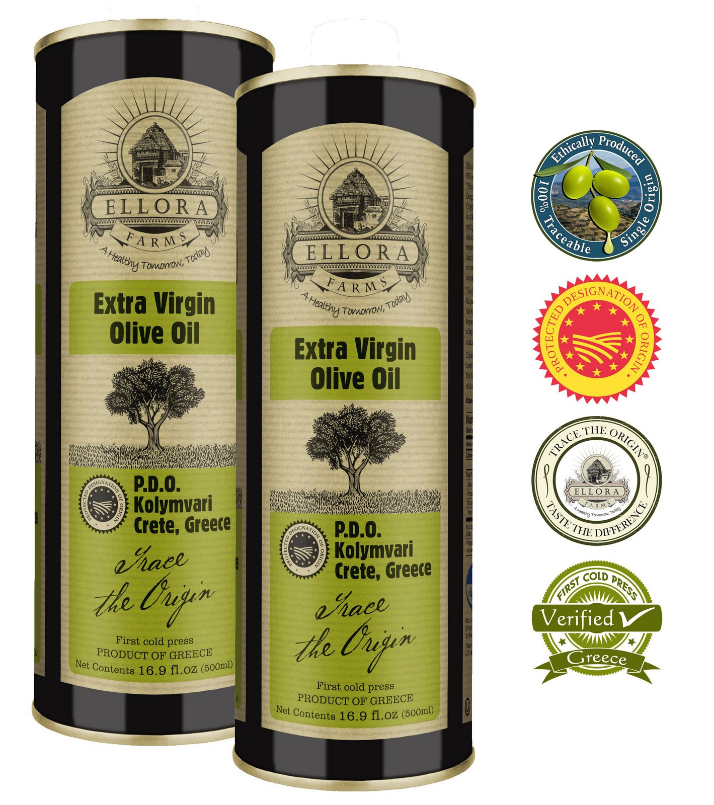 Ellora Farms | Certified Single Estate PDO Extra Virgin Olive Oil | Ethically produced Traceable EVOO | First Cold Press | Harvested in Ancient Crete, Greece | 16.9 oz Tin | Pack of 2