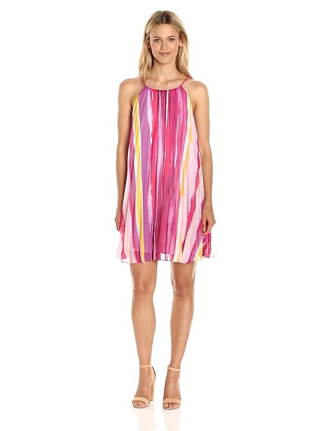 1b086e4015764 BB Dakota Women's Summerlyn Pleated Chiffon Print Dress, Glow, Small at  Amazon Women's Clothing store:
