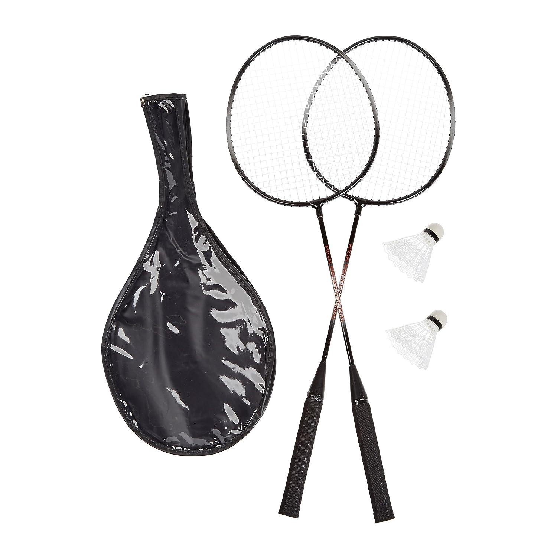 Relaxdays Ensemble de Badminton avec Sac et 2 balles Robustes pour Enfants et Adultes Gris 66 x 20 cm