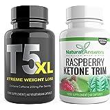T5 Fat Burners + Raspberry Ketone Trim 1 Month T5 XL 120 Fat Burner Bioslim Capsules | T5 Extreme plus Raspberry Ketones Appetite Suppressants and Weight Loss Slimming Pills for Men and Women