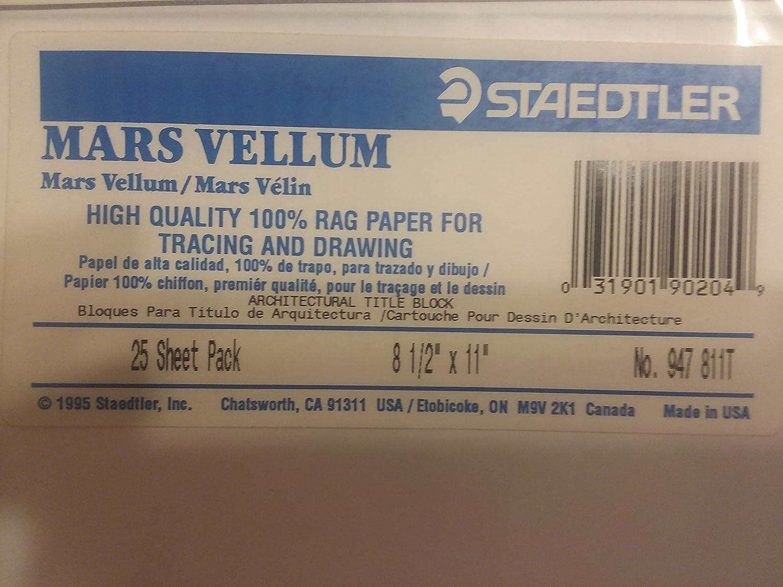 Staedtler Mars Vellum Architectural Title Block Rag Paper 8 1//2 x 11 25 Sheets