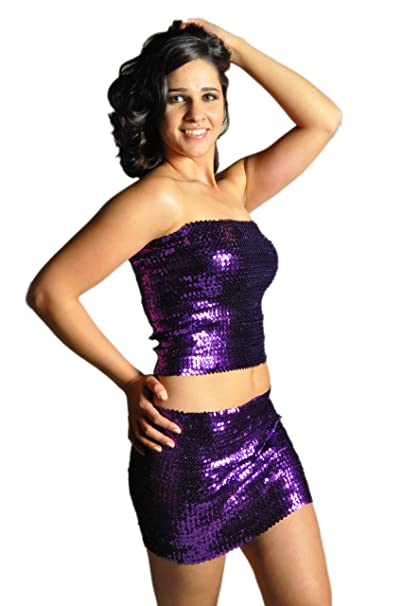 813c4f1ac28 Amazon.com  Pearl Women s Exotic Sexy Sparkly Sequin Tube Top or Skirt -  PURPLE  Tank Top And Cami Shirts  Clothing
