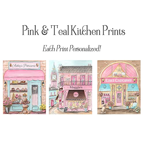 Pink And Teal Kitchen Decor, Pink Kitchen Wall Art, Set Of 3, Personalized