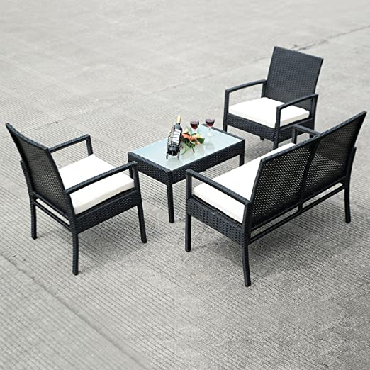4 PCS Outdoor Patio Furniture Set Table Chair Sofa Cushioned Seat Garden New