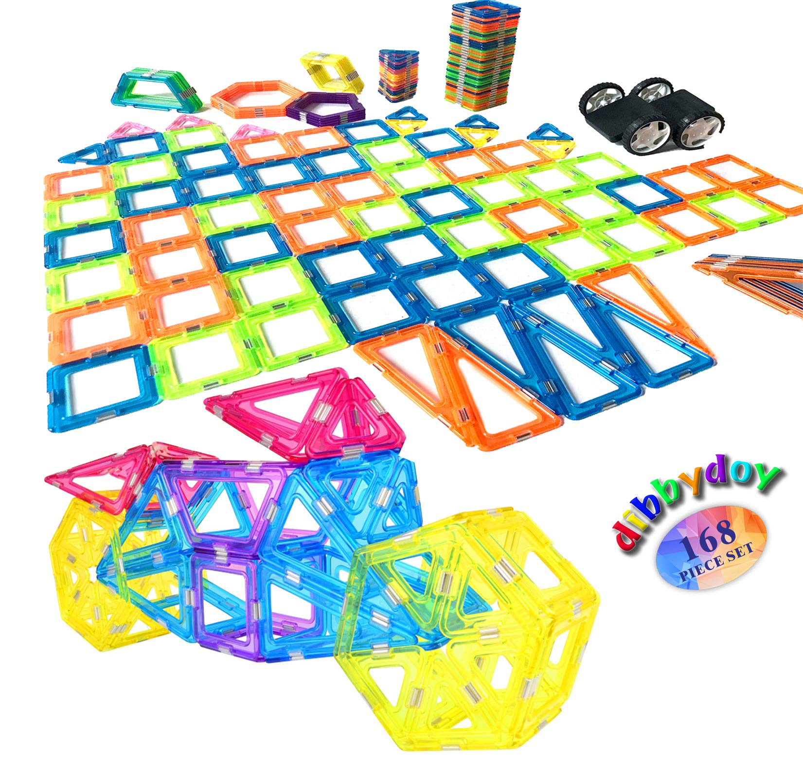 Happy Kids Didactic Toys Magnetic Building Sets Dibbydoy - Magnet Tiles Big Blocks Stack Set - 168 pcs Wide Scope and Strong Magnets - Deluxe Edition - Fiddle Toys Magnet for 3yr old kids