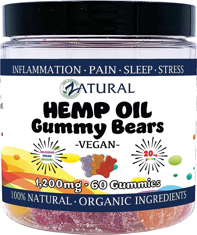 1,200mg Hemp Vegan Gummy Bears - 100% All Natural Vegan Gummies - 20mg Hemp Seed Oil per Gummy (60 Vegan Gummies)