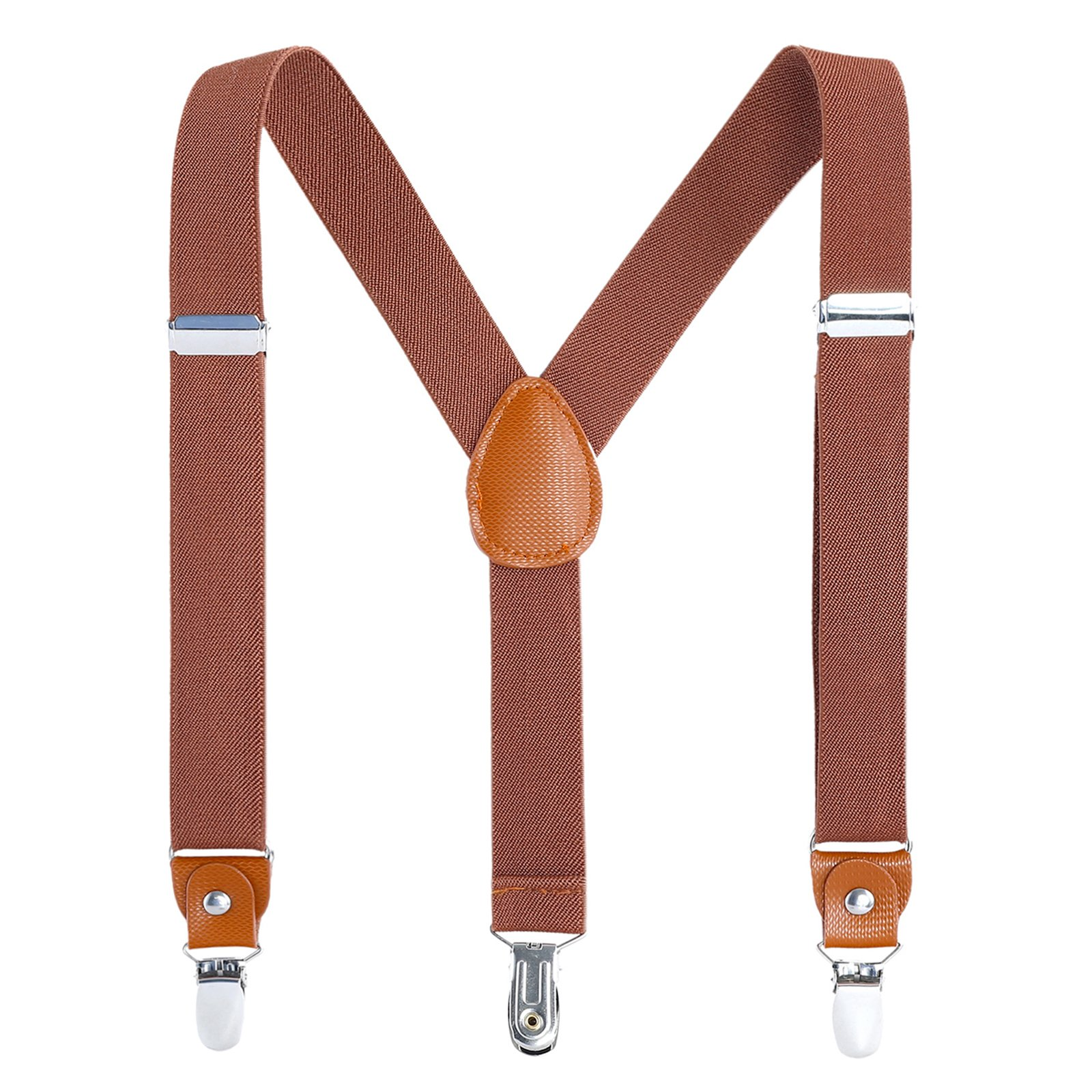 Children Boys and Adults Suspenders - Extra Sturdy Polished Metal Clips Genuine Leather Crosspatch Perfect for Tuxedo (31 Inches (8 Years - 5 Feet Tall), Brown)